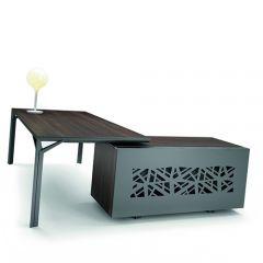 Directiebureau R900 hout met metalen zijkant